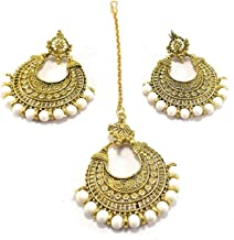 Ethnic Bollywood Style Indian Wedding Bridal Pakistani Gold Plated Pearl Maang Tikka Fore Head Chain Jewelry with Earrings