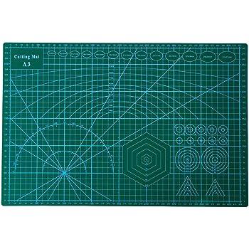 カッターマット A3 カッティングマット 5層シート構造 両面印刷 傷自動癒合機能 3mm厚さ グリーン プラモデル用工具 下敷き デスクトップ保護
