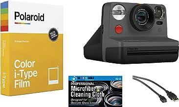 Polaroid Now Instant Film Camera (Black) + Polaroid 4668 Film Bundle
