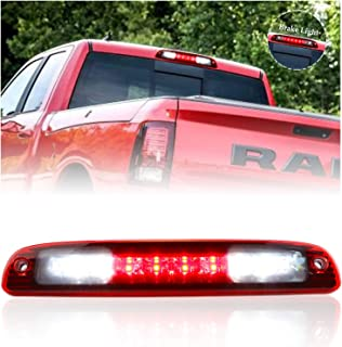 Sanzitop LED 3rd Brake Lights Rear Roof Light Tail Lights Replacement fit for 1997-2007 Dodge Dakota OEM 5056203AH 55056203AC 55056203AB 55056203 (Chrome Housing Red Lens)