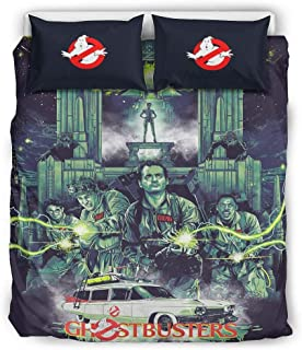 Nanlili Ghostbusters Quilt Cover Set Size Soft All-Season 3 Piece Bedding Quilt Coverlets for Home Lodge White 90x90 inch