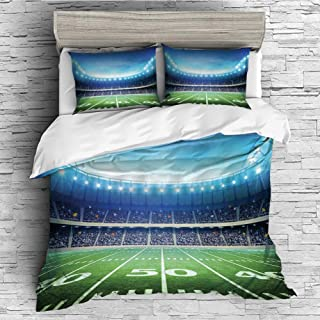 iPrint Home Luxury 4 Pieces Duvet Cover Bedding Sheet Set(Double Size) Football,Photo of American Stadium Green Grass Arena Playground Bleachers Event Match,Blue Green White