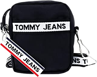 TOMMY JEANS Logo Tape Reporter Nylon Luggage & Travel Gear, Black, AM0AM06026