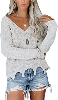 FAFOFA Women's Loose V Neck Long Sleeve Ripped Knit Pullover Sweater Tops