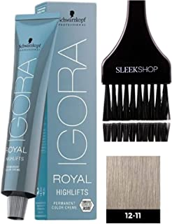 Schwarzkopf IGORA Royal HIGHLIFTS Permanent Hair Color Creme (with Sleek Tint Applicator Brush) Haircolor Cream (12-11 Special Blonde Cendre Extra)