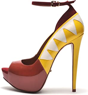 bca407f1402 SCHUTZ Women s Star Peep Toe Unique Flame Platform Ankle Strap Pumps