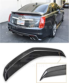 Extreme Online Store Replacement for 2016-Present Cadillac CTS-V | EOS Carbon Package Style Rear Bumper Carbon Fiber Trunk Lid Spoiler Wing Lip