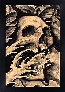 Screaming Skull by Clark North Skull Black & Tan Asian Tattoo Framed Art Print