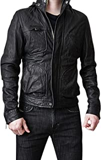 UGFashions Mission Impossible 4 Ghost Protocol Tom Cruise Motorcycle Hooded Black Leather Jacket