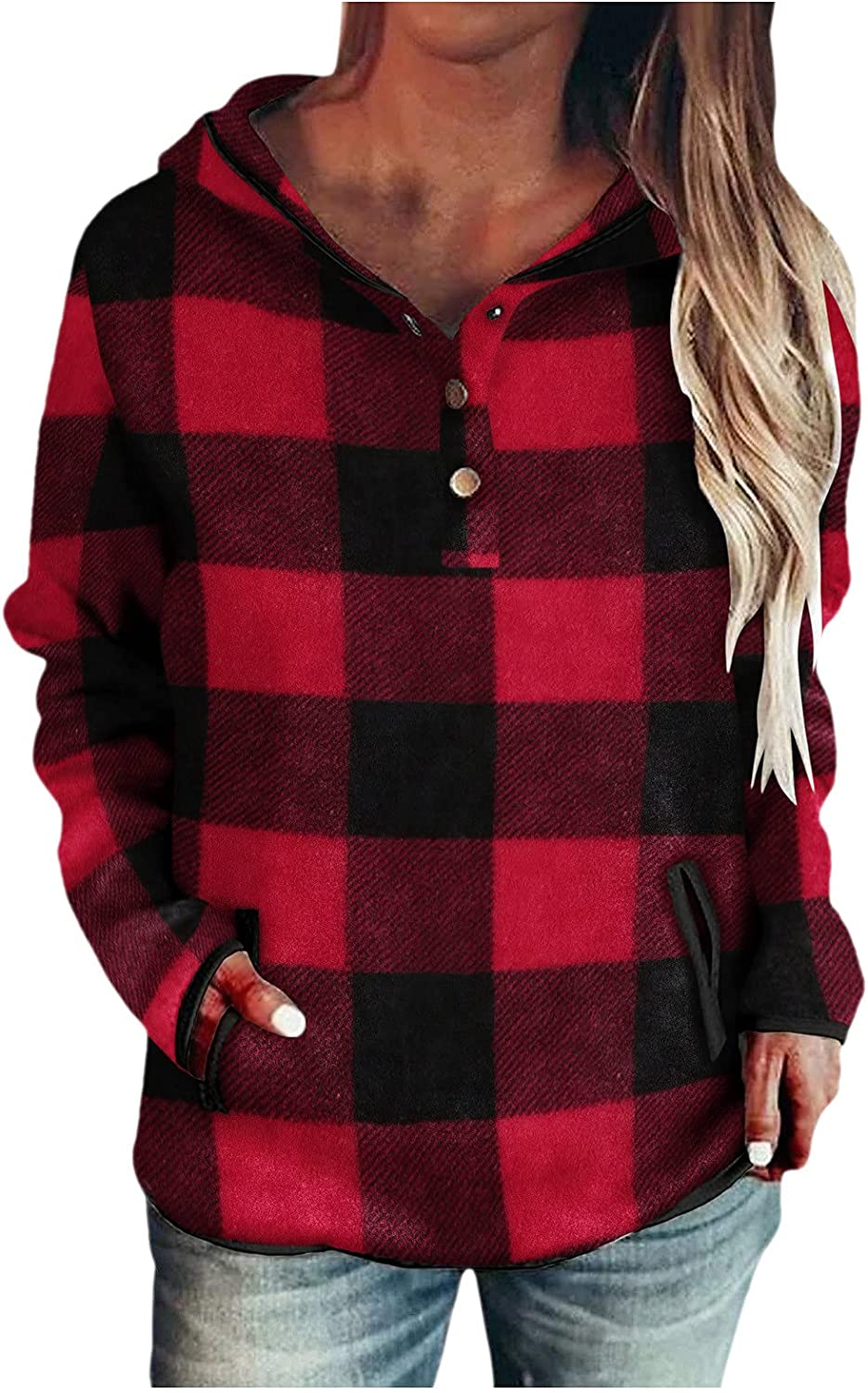 NHGJ Hoodies for Womens Button Down Pullovers Casual Solid Color Block Long Sleeve Hooded Sweatshirt with Pocket Drawstring