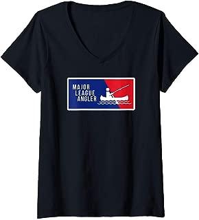 Womens Kayak Fishing Angler Love to Fish Major League Gift for Dad V-Neck T-Shirt