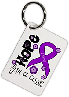 TOOLOUD Hope for a Cure - Purple Ribbon Epilepsy - Flowers Aluminum Keyring Tag