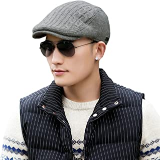 2019 New Mens Winter Wool Newsboy Cap Adjustable Cold Weather Flat Cap Soft Lined