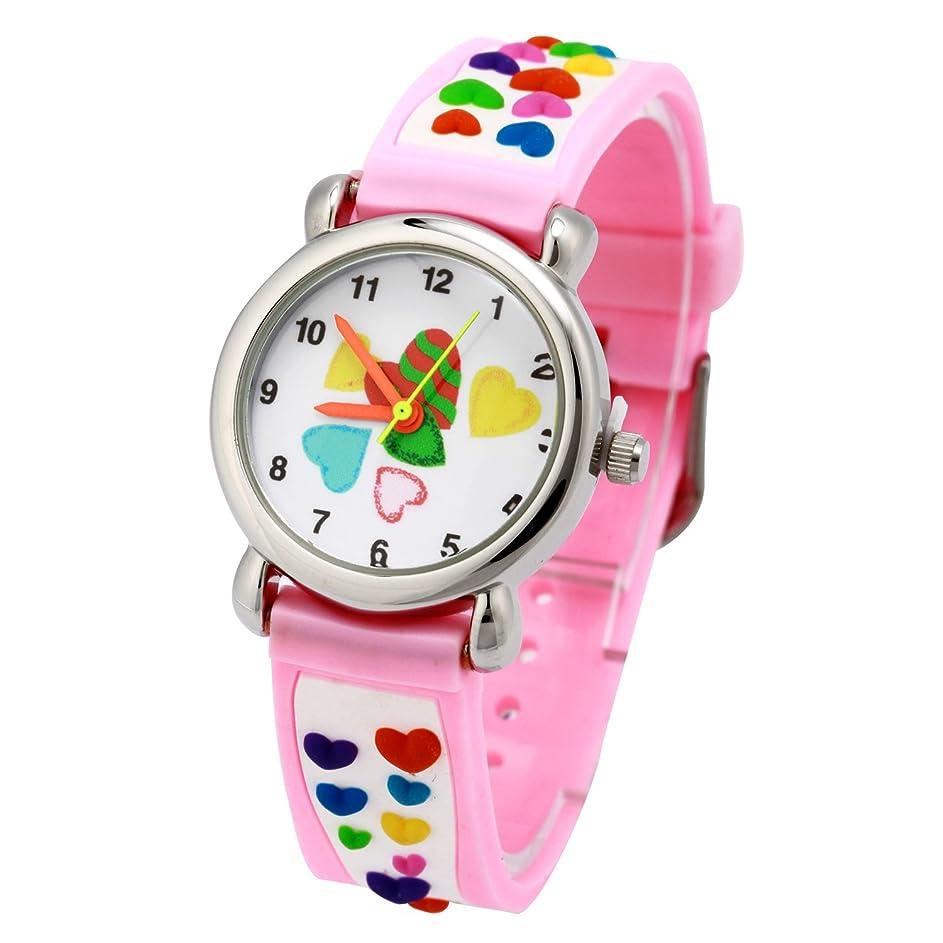 軽量高める持つEleoption キッズ腕時計 子供用時計 男の子 女の子 ステンレス クオーツ腕時計 キッズウォッチ 可愛い図案 誕生日/卒業祝い/クリスマスのプレセント生活防水 3D図案 ピーチハート (ピンク)