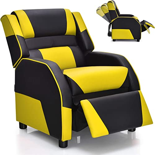 2021 Giantex Kids Recliner, Kids/Youth Gaming Recliner Chair, Racing Style Game Sofa outlet sale with Headrest and Lumbar Support, Ergonomic PU Leather Armchair Lounge Chair for online Living & Gaming Room (Yellow) sale