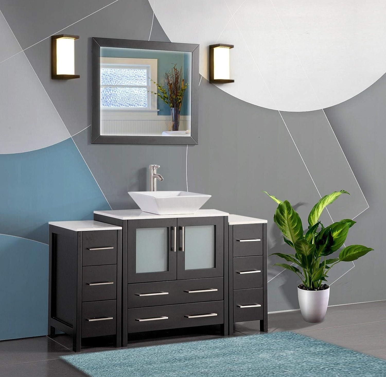 Buy Vanity Art 54 Inch Single Sink Bathroom Vanity Set 1 Shelf 8 Dove Tailed Drawers Quartz Top And Ceramic Vessel Sink Bathroom Cabinet With Free Mirror Va3130 54 E Online In Turkey B01n41hfx5