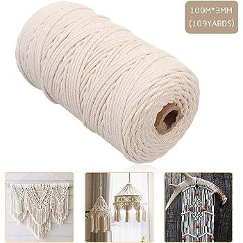 手作りコットン糸 編み 天然コード 紐 綿糸ロープ コットンひも 手芸 インテリア 壁飾り 壁掛け アクセサリー DIY 製作 (3mm x 100m)