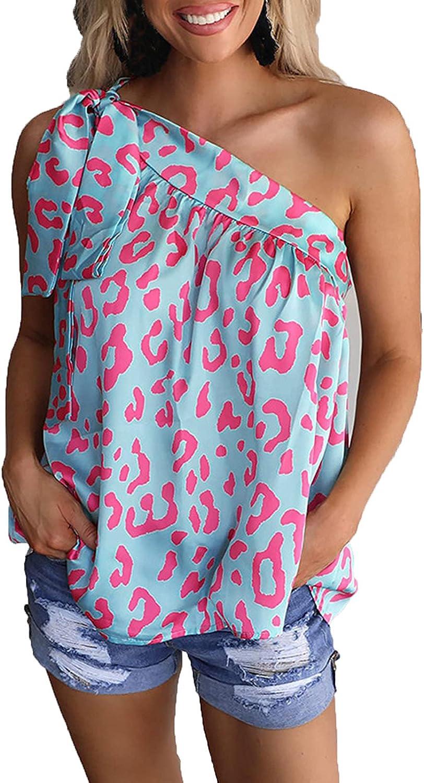 Fashion Womens Summer Tops, Casual Cold Shoulder Sleeveless Tank Print Drawstring Bandage Tops Blouse