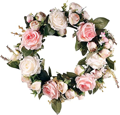 """Artificial Peony Flower Wreath Handmade Pink Floral Wreath Spring Garland Wreath for Front Door Wall Wedding Party Home Decor, 12"""""""