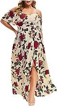 Zomerjurk voor dames, plus size, vintage casual bloemenprint, korte mouwen, off-shoulder split jurk, strand flowy jurk