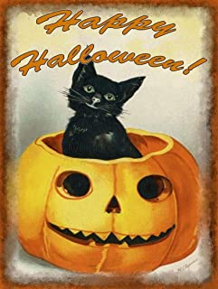 TYmall Happy Halloween Black Cat in Jack-o-Lantern, Pumpkins, Vintage Halloween Decor Inspired Metal Sign 8X12 Inches Wall Art Signs