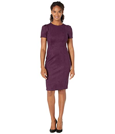 Calvin Klein Short Sleeve Sheath Dress (Aubergine) Women