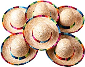 Crazy Night Natural Straw Medium Sombrero Medium Mexican Hat,Tabletop Party Supplies Medium Size (6 pcs)