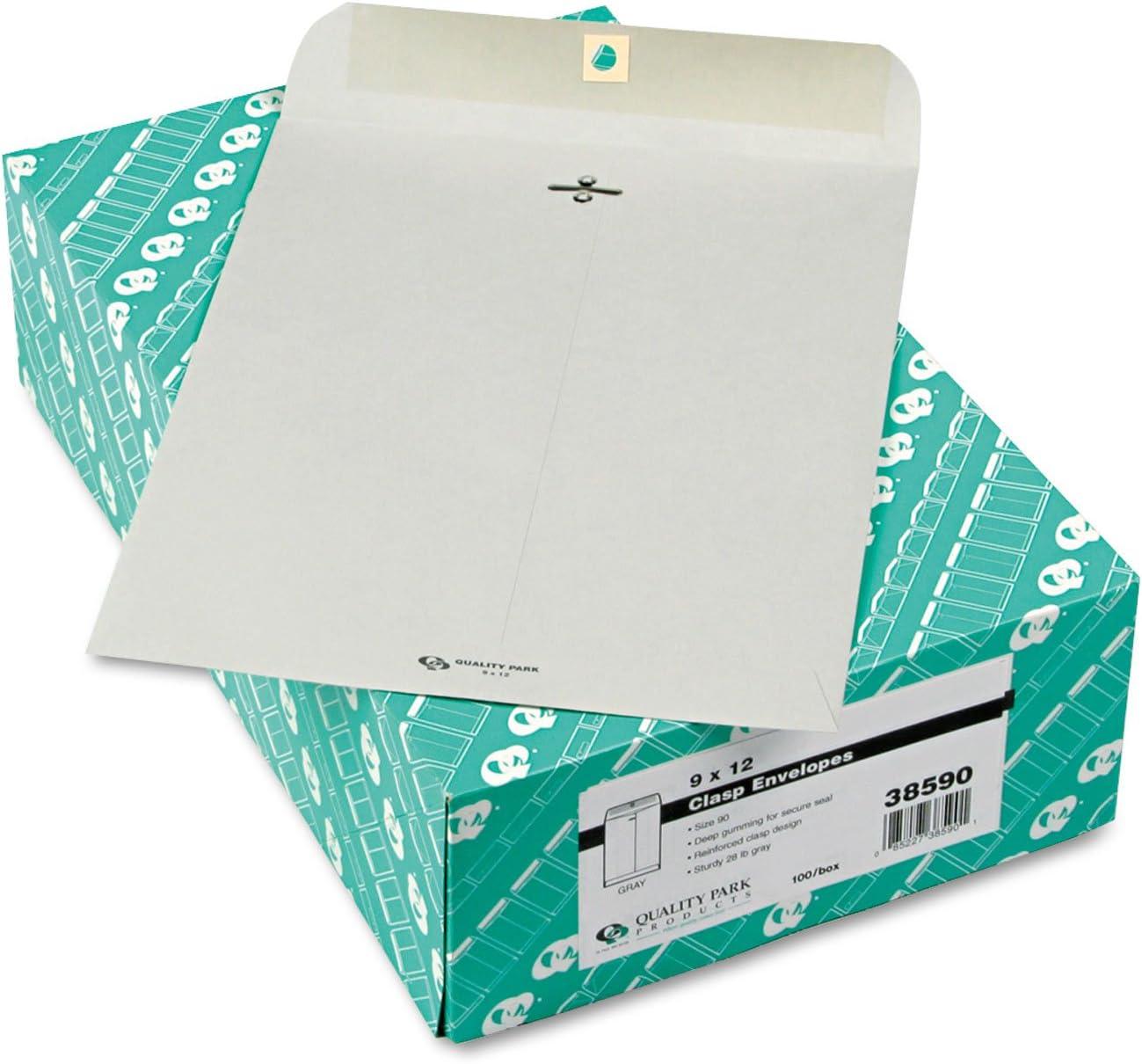 QUA38590 Gummed Clasp Envelope 28Lb 100 Superlatite In stock 9x12 Gray BX