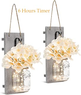 Mason Jar Sconces with LED - Fairy Lights,Vintage Wrought Iron Hooks, Silk Hydrangea Flower and LED Strip Lights Design for Home Kitchen Decoration Set of 2