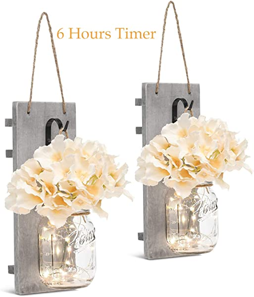 Mason Jar Sconces With LED Fairy Lights Vintage Wrought Iron Hooks Silk Hydrangea Flower And LED Strip Lights Design For Home Kitchen Decoration Set Of 2