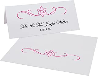 Documents and Designs Intertwined Star of David Flourish Jewish Place Cards (Select Color), Fuschia, Set of 60