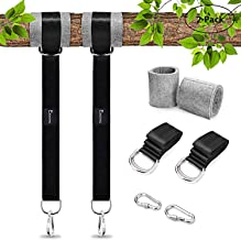 EKKONG Tree Swing Hanging Kit (Set of 2)-2200 lbs 2 of 5ft Straps + 2 Tree Protectors + 2 Carabiners Easy Install for Any Swing or Hammock (Black) (5FT-2PACK)