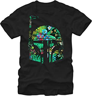 Star Wars Men's Hawaiian Print Boba Fett Helmet T-Shirt