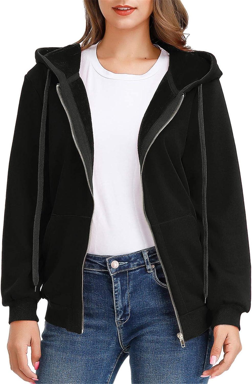 Jasambac Women's Fleece Lined Zip Up Hoodie Winter Thick Sweatshirt Jacket Coat