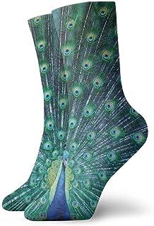 Calcetines casuales coloridos geniales - Novedad Divertidos calcetines de vestir casuales Pluma de pavo real