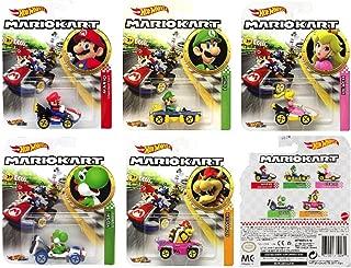 Character Hot Wheels 2019 Mariokart Diecast Bundle; 5 car Set: Mario, Luigi, Peach, Yoshi, and Bowser