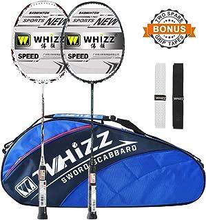 WHIZZ 2 PCS 100% Graphite Badminton Racket Set, Frame/String Protection Design, Large Badminton Bag / 2 Grip Tapes Included (Black/White)