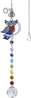YU FENG Turkish Blue Evil Eye Owl Decor Hanging Crystal Suncatcher Ornament with Chakra Beads Clear Ball Prism Rainbow Mak...