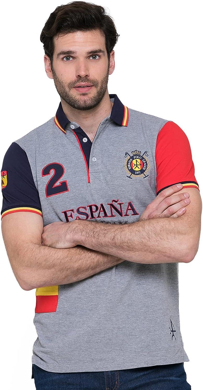 Polo Camiseta Bandera España, Polo de Hombre 100% Algodón - Valecuatro