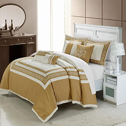Chic Home 7-Piece Venice Embroidered Comforter Set,  Queen,  Beige Gold