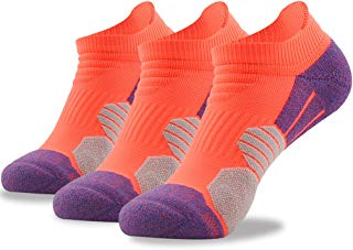 NIcool Women's No Show Running Lightweight Cushion Sweat-absorbent Low Cut Outdoor Camping Hiking Tennis Sports Casual Socks, 3 Pairs, Orange
