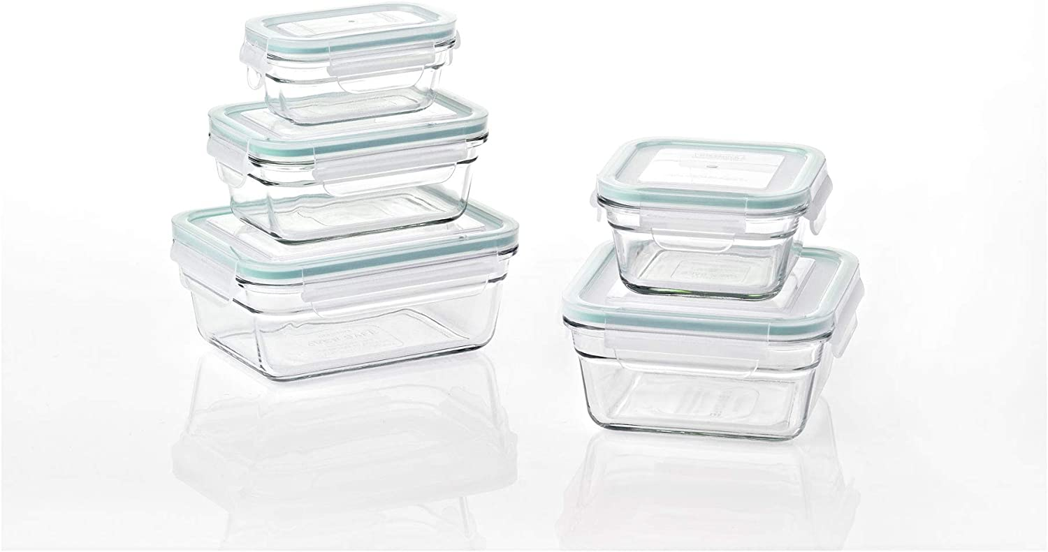Glasslock Oven and Microwave Safe Glass Food Storage Containers 10 Piece Set