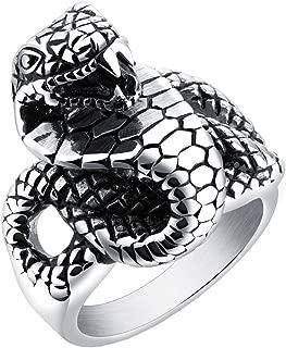 Men's Stainles Steel Silver Black Cool Punk Cobra Snake Biker Ring Animal Head