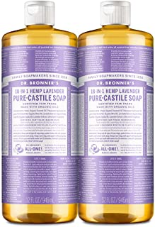 Dr. Bronner's - Pure-Castile Liquid Soap (Lavender, 32 ounce, 2-Pack) - Made with Organic Oils, 18-in-1 Uses: Face, Body, ...