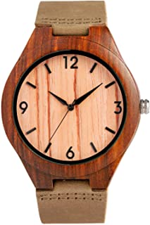 CUCOL Wooden Watches for Men Fashion Casual Watch Brown Cow Leather Strap Wood Watch with Box (Stripe)