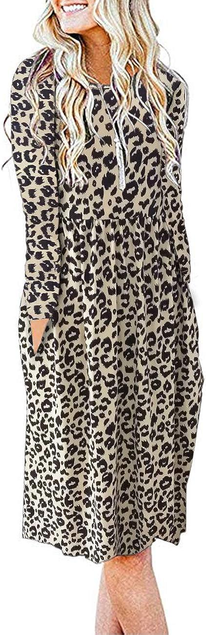 AUSELILY Women's Max 73% OFF Long Sleeve Arlington Mall Pockets Empire Waist Loose Pleated