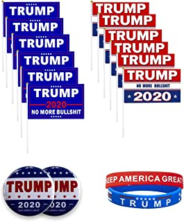 The Trump Flag 2020 Presidential Election, 12 Small Mini Handheld Waterproof Flags and 2 Silicone Trump Wristbands and 2 2.28-inch Diameter Badges.