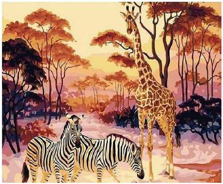 Kongjingjing Dipingi con i Numeri per Adulti Dipinto in Acrilico Fai da Te con i Numeri Kit per Adulti Bambini Zebra e Giraffa A 80X100cm