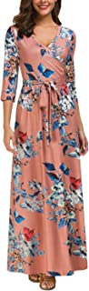 Kranda Womens 3/4 Sleeve V Neck Floral Print Faux Wrap Long Maxi Dress with Belt