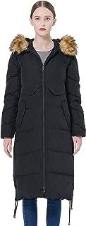 Women's Winter Drawstring Down Coat Removable Faux Fur